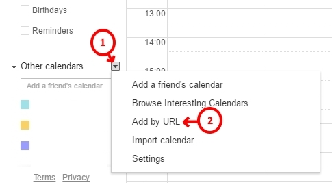 google calendar adding info, step 1